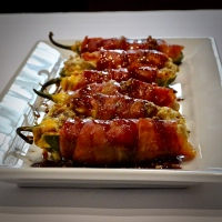 Bacon Wrapped Jalapeno Poppers w/ Whiskey Glaze