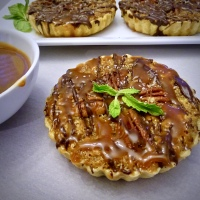 Bourbon Pecan Pie Tartlets with Salted Caramel & Chocolate