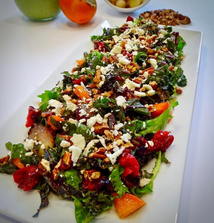 Cranberry & Persimmon Kale Salad w/ Creamy AvocadoDressing