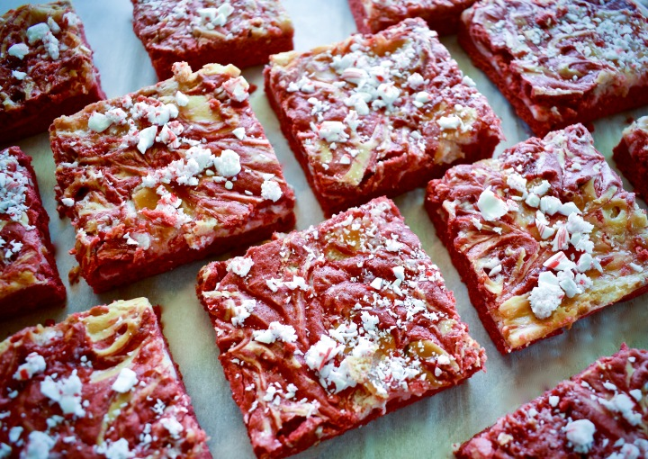 Red Velvet Peppermint Cheesecake Bars